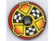 Part No: 2958pb025  Name: Technic, Disk 3 x 3 with Checkered Flags and Arrows on Red Pattern (Sticker) - Set 8241