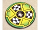 Part No: 2958pb026  Name: Technic, Disk 3 x 3 with Checkered Flags and Arrows on Green Pattern (Sticker) - Set 8241