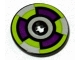 Part No: 2958pb033  Name: Technic, Disk 3 x 3 with Purple, Silver and Lime 6 Section Pattern (Sticker) - Set 8305