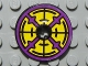Part No: 2958pb036  Name: Technic, Disk 3 x 3 with Purple, Yellow and Black Pattern both sides (Stickers) - Set 8269