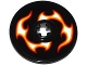 Part No: 2958pb060L  Name: Technic, Disk 3 x 3 with Red, Orange and White Flames Pattern Model Left Side (Sticker) - Set 42046