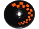 Part No: 2958pb062L  Name: Technic, Disk 3 x 3 with Orange Checkered Pattern Model Left Side (Sticker) - Set 42048