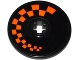 Part No: 2958pb062R  Name: Technic, Disk 3 x 3 with Orange Checkered Pattern Model Right Side (Sticker) - Set 42048