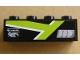 Part No: 3010pb125R  Name: Brick 1 x 4 with Silver Intake, Lime T Stripe and 'Hevado Super Fast' Pattern Model Right (Sticker)- Set 8154
