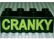 Part No: 3011pb014  Name: Duplo, Brick 2 x 4 with 'CRANKY' Text Pattern