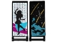 Part No: 30292pb022  Name: Flag 7 x 3 with Rod with Medium Azure Smoke, Stars and Gold Stripes / Black Female Dancer Silhouette Type 2 Pattern (Stickers) - Set 41105