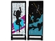 Part No: 30292pb024  Name: Flag 7 x 3 with Rod with Medium Azure Smoke, Stars and Gold Stripes / Black Female Dancer Silhouette Type 4 Pattern (Stickers) - Set 41105