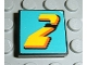 Part No: 3068bpb0027  Name: Tile 2 x 2 with Number  2 Yellow on Turquoise Background Pattern (Sticker) - Set 8202