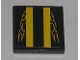 Part No: 3068bpb0304  Name: Tile 2 x 2 with Groove with Yellow Stripes and Flames Pattern (Sticker) - Set 8196