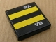 Part No: 3068bpb0335  Name: Tile 2 x 2 with Two Yellow Stripes on Black Background and 'V8' Pattern (Sticker) - Set 8154