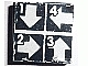 Part No: 3068bpb0621  Name: Tile 2 x 2 with White Arrows Down, Left, Right, UP and 1,2,3,4 on Black Background Pattern (Sticker) - Set 8094