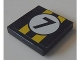 Part No: 3068bpb0672  Name: Tile 2 x 2 with Two Yellow Stripes and Black Number 7 in White Circle Pattern (Sticker) - Set 8154