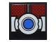 Part No: 3068bpb0960  Name: Tile 2 x 2 with Dark Red Body Armor Panels and Silver Belt with Blue Button Pattern (Sticker) - Set 76051