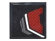 Part No: 3068bpb0961L  Name: Tile 2 x 2 with Dark Red and Silver Body Armor Panel Pattern Model Left Side (Sticker) - Set 76051
