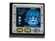 Part No: 3068bpb1041  Name: Tile 2 x 2 with '16.07...' and Blue Female Minifig Head on Screen, Speaker Grille and Yellow Buttons Pattern (Sticker) - Set 70588