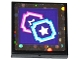 Part No: 3068bpb1056  Name: Tile 2 x 2 with 2 Star Tickets on Dark Purple Background Pattern (Sticker) - Set 41130