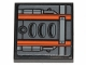Part No: 3068bpb1217  Name: Tile 2 x 2 with Groove with Orange Stripes, Air Intakes and Pipes with Dark Bluish Gray Stripes Pattern (Sticker) - Set 75259
