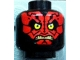 Part No: 3626bpb0722  Name: Minifig, Head Alien with SW Darth Maul, Red Face and Teeth Pattern - Blocked Open Stud