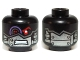Part No: 3626cpb1039  Name: Minifigure, Head Alien with Mechanical Right Eye Red and Purple, Silver Head Plates Pattern - Hollow Stud