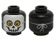 Part No: 3626cpb1412  Name: Minifigure, Head Skull Mask with Yellow Eyes and String Tied in Back Pattern - Hollow Stud