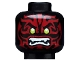 Part No: 3626cpb1664  Name: Minifig, Head Alien with Lime Eyes, White Fangs and Dark Red Face Decorations Pattern - Stud Recessed