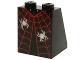 Part No: 3678bpb085  Name: Slope 65 2 x 2 x 2 with Bottom Tube with Dress with Red Spider Web and 2 Silver Spiders Pattern