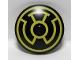 Part No: 3960pb030  Name: Dish 4 x 4 Inverted (Radar) with Yellow Sinestro Logo Pattern