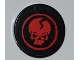 Part No: 4150pb087  Name: Tile, Round 2 x 2 with Ninjago Cracked Red Skull in Red Circle on Black Background Pattern (Sticker) - Set 2259