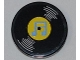 Part No: 4150pb096  Name: Tile, Round 2 x 2 with Vinyl Record with Yellow Center and Medium Blue Musical Notes Pattern (Sticker) - Set 3818