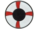 Part No: 4150px34  Name: Tile, Round 2 x 2 with Red and White Life Preserver, Curved Bands Pattern