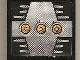 Part No: 4215pb062b  Name: Panel 1 x 4 x 3 with 3 Yellow Circles with Bionicle Code Pattern B on Silver Pattern (Sticker) - Set 8758