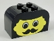 Part No: 4744px15  Name: Brick, Modified 2 x 4 x 2 Double Curved Top with Yellow Face, Moustache Pattern