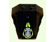 Part No: 47757pb10  Name: Wedge 4 x 4 Pyramid Center with Lime Circle and Silver Robot Head Pattern (Sticker) - Set 8104