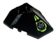 Part No: 47757pb12  Name: Wedge 4 x 4 Pyramid Center with Lime Circle with Silver Circuitry Pattern (Sticker) - Set 8104