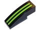 Part No: 50950pb083  Name: Slope, Curved 3 x 1 No Studs with 2 Lime Stripes on Black Background Pattern (Sticker) - Set 8133