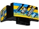 Part No: 61070pb007  Name: Technic, Panel Car Mudguard Right with Sponsor Logos on Blue, Yellow and Black Background Pattern (Stickers) - Set 42034