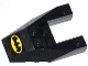 Lot ID: 122815167  Part No: 6153bpb06  Name: Wedge 6 x 4 Cutout with Stud Notches with Yellow Batman Logo Pattern (Sticker) - Set 76013
