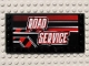 Part No: 6178pb002R  Name: Tile, Modified 6 x 12 with Studs on Edges with White 'ROAD SERVICE' on Black and Red Stripes Pattern Model Right (Sticker) - Set 8285