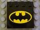 Part No: 6179pb009  Name: Tile, Modified 4 x 4 with Studs on Edge with Batman Logo Pattern (Sticker) - Set 7782