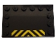 Part No: 6180pb035  Name: Tile, Modified 4 x 6 with Studs on Edges with Black and Yellow Danger Stripes Pattern (Sticker) - Set 7991