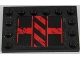 Part No: 6180pb084R  Name: Tile, Modified 4 x 6 with Studs on Edges with Black and Red Danger Stripes Pattern Model Right Side (Sticker) - Set 8864