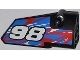 Part No: 64391pb004  Name: Technic, Panel Fairing # 4 Small Smooth Long, Side B with '98' and Red and White Swirls on Blue Pattern (Sticker) - Set 42010