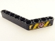 Part No: 6629pb020L  Name: Technic, Liftarm 1 x 9 Bent (6 - 4) Thick with Yellow and Black Danger Stripes, Black Hand with Red Line Pattern Model Left (Sticker) - Set 8446