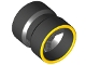 Part No: 74967pb01  Name: Wheel  8mm D. x 9mm (for Slicks), Hole Notched for Wheels Holder Pin, Reinforced Back with Yellow Rim Edge Pattern