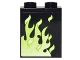 Part No: 87552pb018L  Name: Panel 1 x 2 x 2 with Side Supports - Hollow Studs with Green Flames Left Pattern (Sticker) - Set 4840