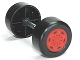 Part No: 88762c01pb13  Name: Duplo Wheel Double Assembly with Metal Axle and Red Sport Pattern