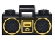 Part No: 93221pb04  Name: Minifigure, Utensil Radio Boom Box with Handle with Gold Digital Music Player and Rimmed Speakers Pattern