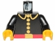 Part No: 973p21c01  Name: Torso Fire Uniform Five Button Pattern / Black Arms / Yellow Hands