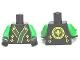 Part No: 973pb1259c01  Name: Torso Ninjago Robe with Green and Gold Sash Pattern / Green Arms / Black Hands