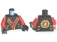 Part No: 973pb1381c01  Name: Torso Ninjago Robe with Red and Gold Sash Pattern / Red Arms / Black Hands